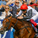 Cracksman and Frankie Dettori (l) win from Salouen and Silvestre De Sousa at the Coronation Cup at Epsom