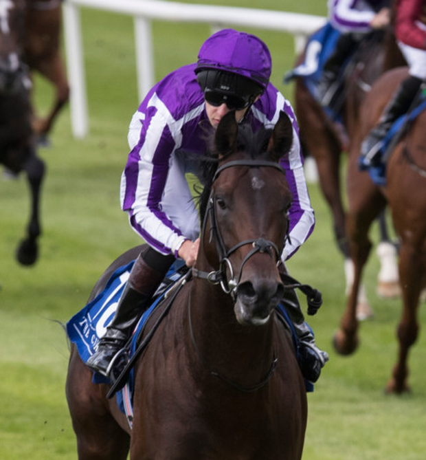HOME CLEAR: Ten Sovereigns and Donnacha O'Brien win the Irish Stallion Farms EBF Maiden at the Curragh on Saturday. Pic: Racing Post