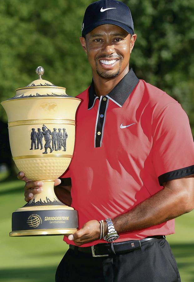 Tiger Woods after winning the World Golf Championships-Bridgestone Invitational. Picture: Sam Greenwood/Getty
