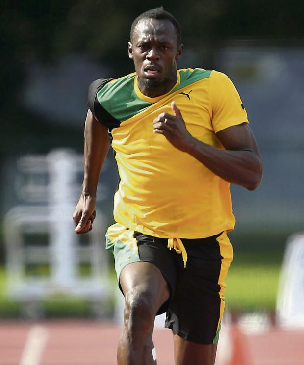 Usain Bolt training in Moscow. Picture: Dave Thompson/PA