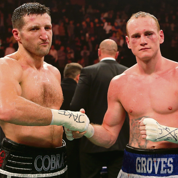 Carl Froch (left) and George Groves after their WBA and IBF Super Middleweight Title fight. Picture: Dave Thompson/PA