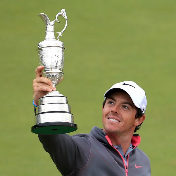 Rory McIlroy with the Claret Jug after winning the 2014 Open Championship at Royal Liverpool Golf Club, Hoylake. Picture: Peter Byrne/PA Wire.