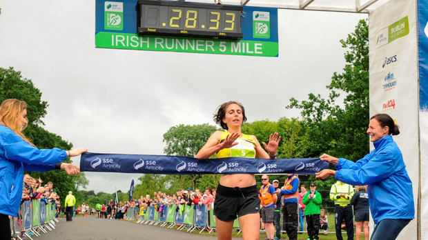 Gladys Ganiel wins her first Irish Runner 5 Mile Picture: Sportsfile