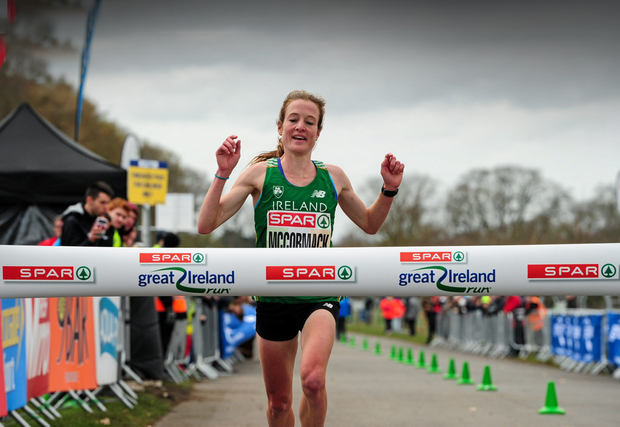 Ireland's Fionnuala McCormack wins the SPAR Great Ireland Run/National 10K championships at the Phoenix Park in April. Picture credit: Sportsfile