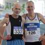 Brian Lynch of North East Runners AC, Louth (left) and Joe Gough of West Waterford AC at the recent Irish Life Health National Masters Indoor Championships at AIT International Arena, Athlone. Pic: Sportsfile