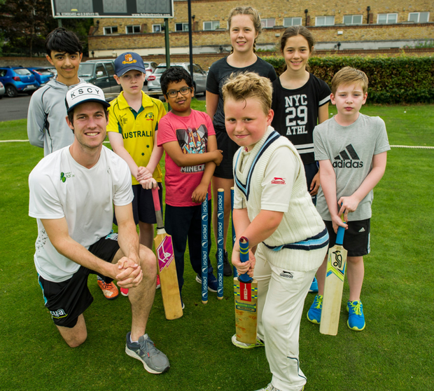 Irish international cricketer George Dockrell giving lessons to Matthew Cullen, in his whites, as Oisín Bhoja, Nathan O'Reilly, Zayon Khaleik, Katie Crosby, Joanna Loughran and Matthew O'Reilly look on at the Leinster Cricket Club in Rathmines. Pic: Doug O'Connor