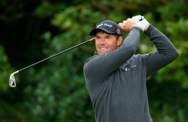 Pádraig Harrington tees off at the fifth hole. Pic: PA