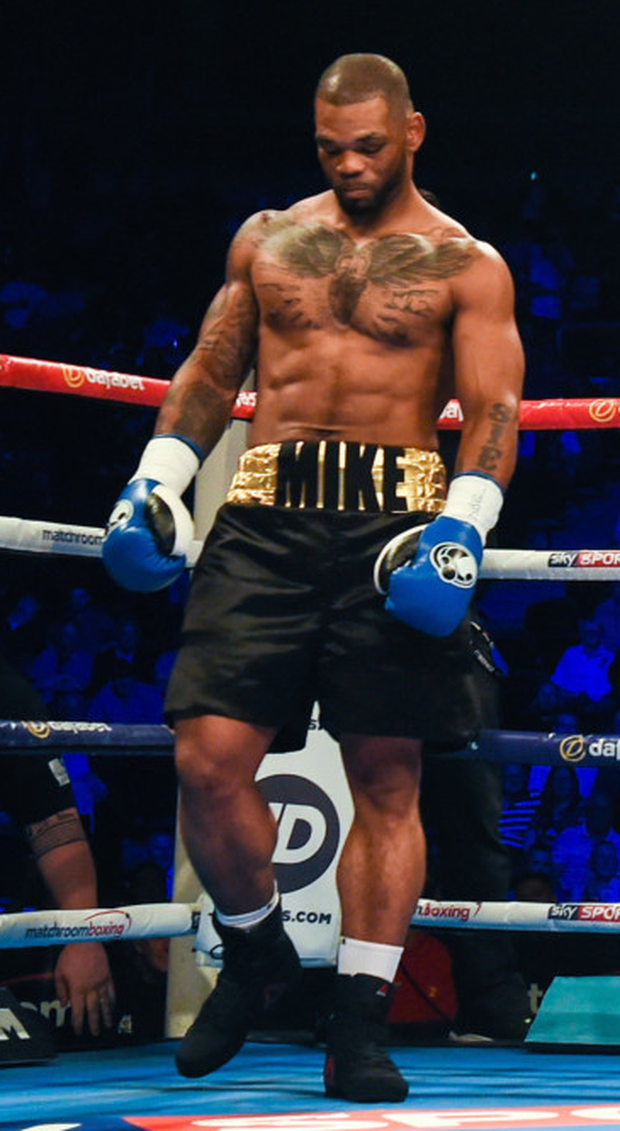 Mike Perez reacts after his bout with Viktor Biscak ended within a minute at the Boxing in Belfast in the SSE Arena, Belfast last June. Photo: Sportsfile