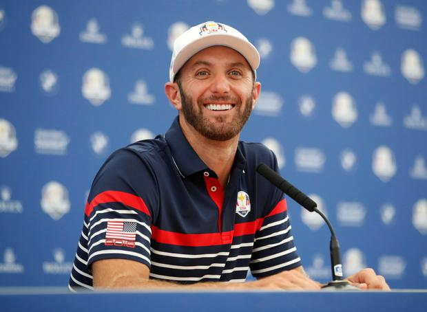 PRIMED AND READY: Team USA's Dustin Johnson yesterday. Photo: Reuters