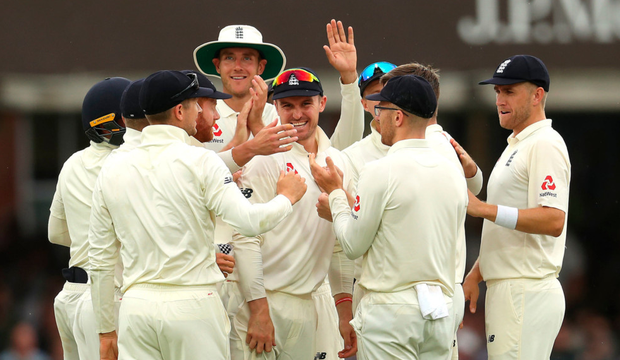 England celebrate the wicket of Ireland's Garry Wilson by England's Chris Woakes