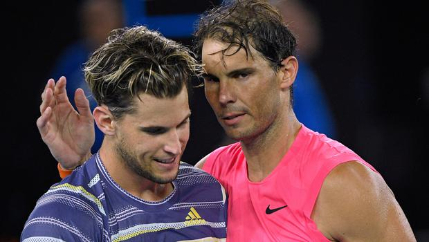 Austria's Dominic Thiem is congratulated by Spain's Rafael Nadal after winning their Australian quarter-final in Melbourne. Pic: AP Photo