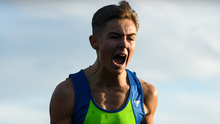 Scott Fagan of Metro/St Brigid's AC celebrates winning the U17 boys' race at the National Novice and Juvenile Uneven Age Cross Country