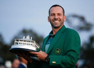 Sergio Garcia holds his trophy at the green jacket ceremony. Photo: AP