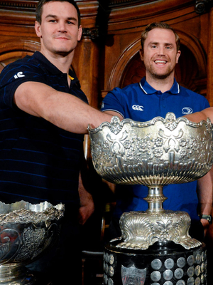 Jonathan Sexton and Jamie Heaslip during the Bank of Ireland Leinster Schools Cup Draws