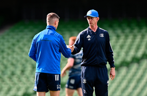 READY TO ROCK: Leinster boss Leo Cullen with Jonathan Sexton during the captain's run at the Aviva Stadium yesterday