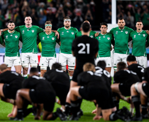 Joey Carbery (third from right) faces the New Zealand haka prior to the start of last October's World Cup quarter-final at the Tokyo Stadium, Chofu. Photo: Sportsfile