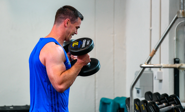 WORKING HARD: Jonathan Sexton during a Leinster rugby gym session at UCD on Monday. Photo: SPORTSFILE