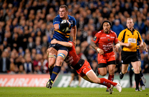 Rhys Ruddock on the burst for Leinster during the Champions Cup match against Toulon at the Aviva Stadium Photo:Sportsfile