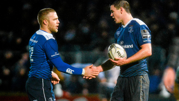 Leinster's Ian Madigan, left, shakes hands with Jonathan Sexton as he replaces him on the pitch during the Guinness PRO12 clash with Connacht at the RDS, Dublin Photo:Sportsfile