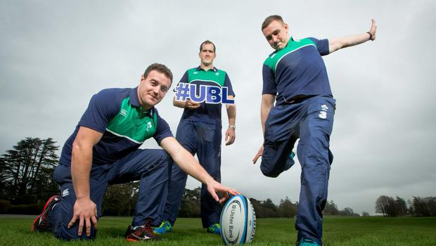 Irish players Devin Toner (c), Tommy O'Donnell (r) and Rob Herring were on hand in Carton House yesterday as Ulster Bank announced the extension of their partnership with the IRFU. The bank has supported club rugby at a community level for the past six years, investing in a number of helpful initiatives including providing over €160,000 in funding through their RugbyForce programme. Ulster Bank will continue as title sponsors of the All-Ireland League until 2018. Photo: ©INPHO/Morgan Treacy
