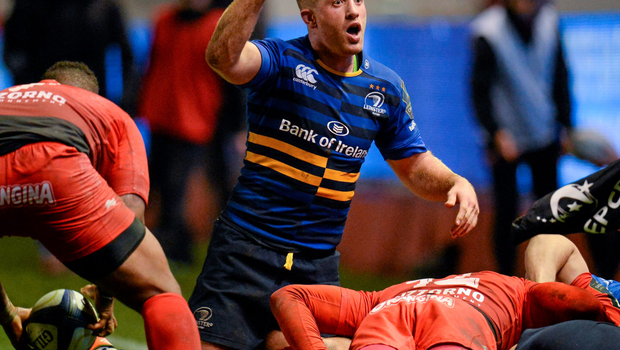Leinster's Luke Fitzgerald is not happy with a decision
