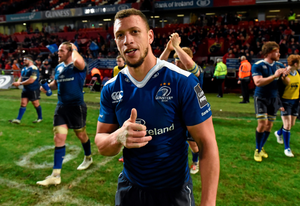 Zane Kirchner gives a thumbs up after Leinster's derby win  Photo:Sportsfile