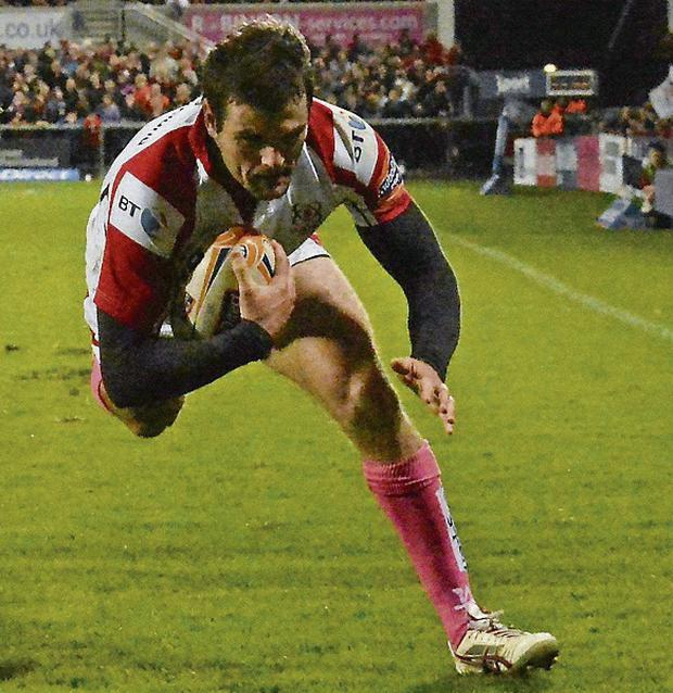 OVER THE LINE: Jared Payne scores for Ulster