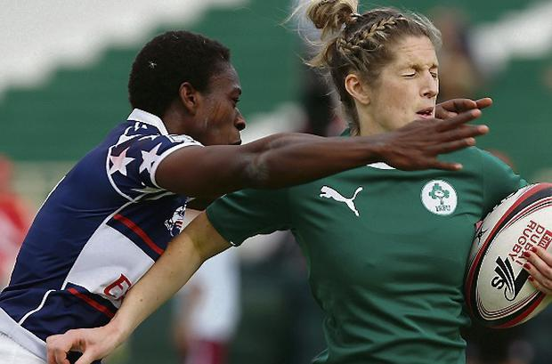 Alison Miller of Ireland is tackled by Victoria Folayan of United States. Picture credit: Francois Nel/Getty Images