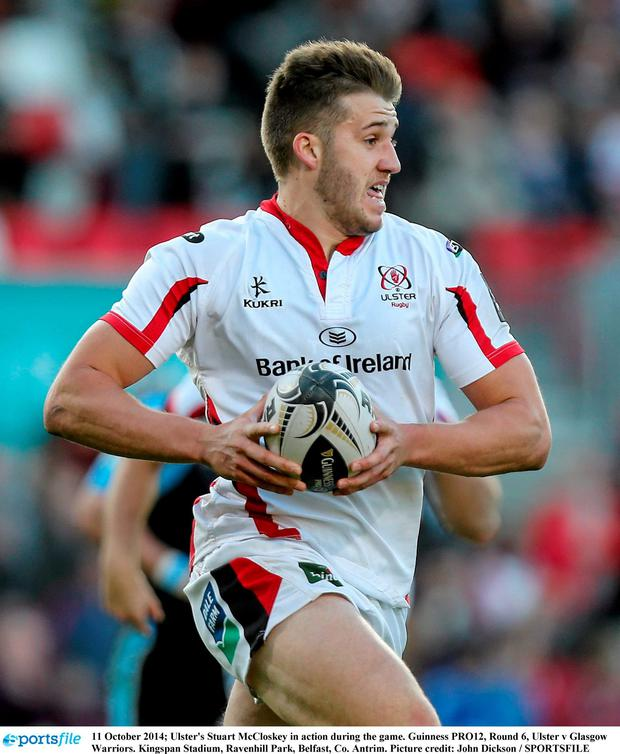 11 October 2014; Ulster's Stuart McCloskey in action during the game. Guinness PRO12, Round 6, Ulster v Glasgow Warriors. Kingspan Stadium, Ravenhill Park, Belfast, Co. Antrim. Picture credit: John Dickson / SPORTSFILE