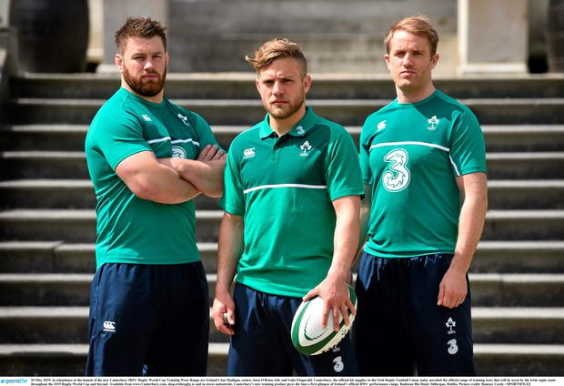 At the launch of the new Canterbury IRFU Rugby World Cup Training Wear Range are Ireland's Ian Madigan, centre, Sean O'Brien, left, and Luke Fitzgerald.