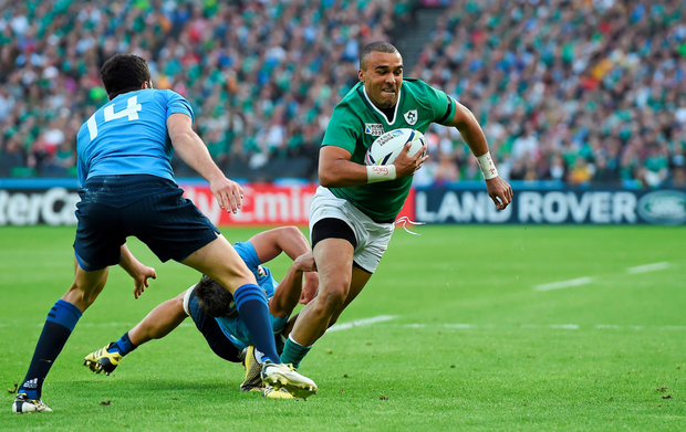 Simon Zebo is tackled by Italy's Simone Favaro last Sunday
