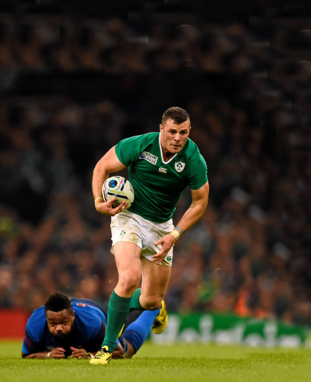 Ireland's Robbie Henshaw leaves France's Mathieu Bastareaud in his slipstream in last weekend's World Cup Pool D clash at the Millennium Stadium, Cardiff