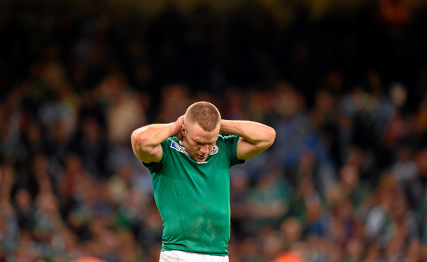 A distraught Ian Madigan after Ireland's quarter-final defeat
