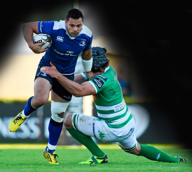 Ben Te'o, Leinster, is tackled by Marco Fuser, Treviso