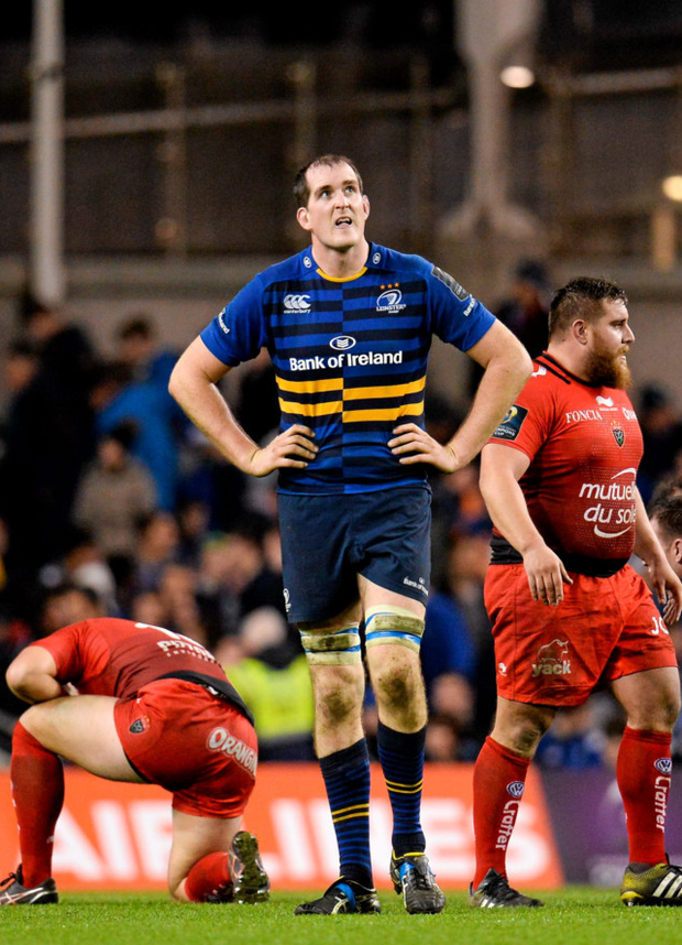 Devin Toner (c) after Saturday's Champions Cup defeat by Toulon Photo:Sportsfile