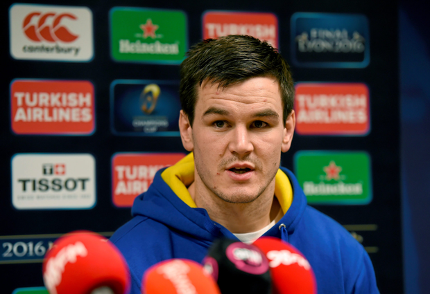 Jonathan Sexton at yesterday's Leinster press conference Photo: Sportsfile