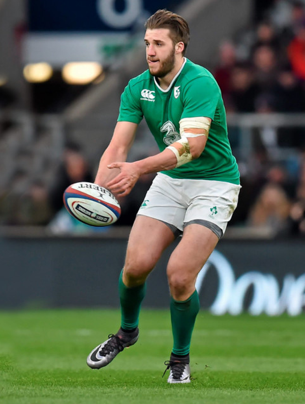 Ireland's Stuart McCloskey in action against England at Twickenham on his Six Nations debut. Photo: Sportsfile