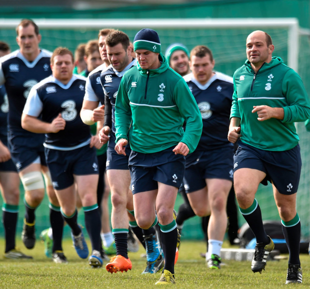 Ireland captain Rory Best leads his team-mates on a lap of the pitch before the start of squad training at Carton House (SPORTSFILE)
