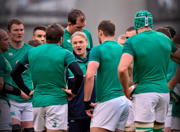 Ireland head coach Joe Schmidt speaks to his players ahead of the game. at the Aviva Stadium. Photo: Sportsfile