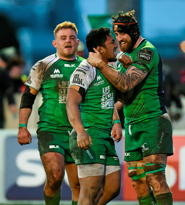 Connacht's Bundee Aki and Aly Muldowney celebrate. Pic: Stephen McCarthy/Sportsfile