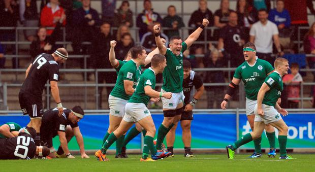 Ireland celebrate their victory over New Zealand