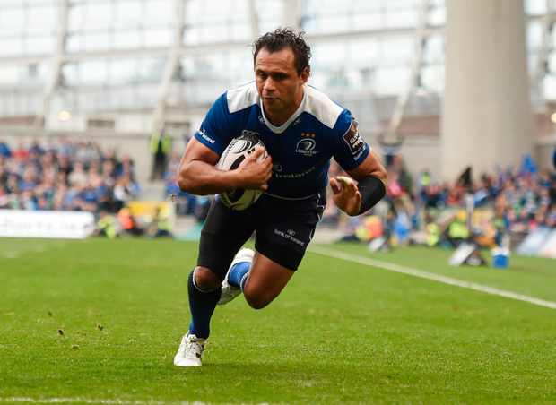 Isa Nacewa of Leinster goes over to score his side's second try during the Guinness PRO12 Round 6 match between Leinster and Munster at the Aviva Stadium