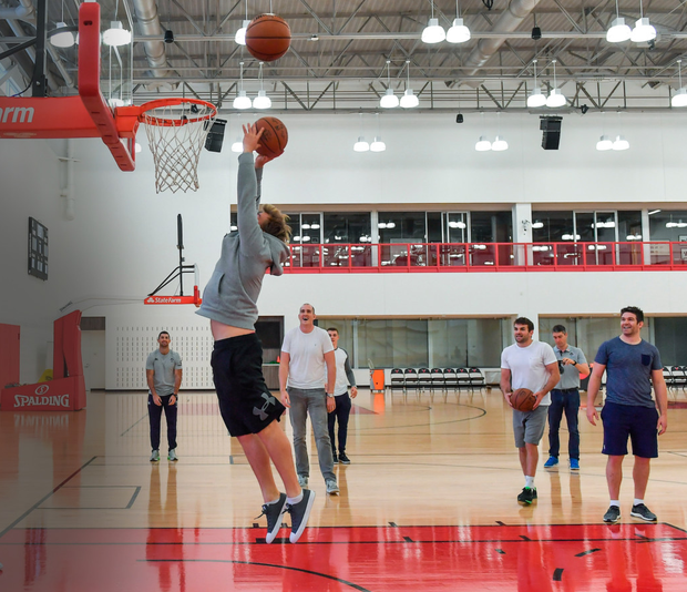 Jordi Murphy goes for a basket during the Ireland squads visit to the Chicago Bulls' training facility this week