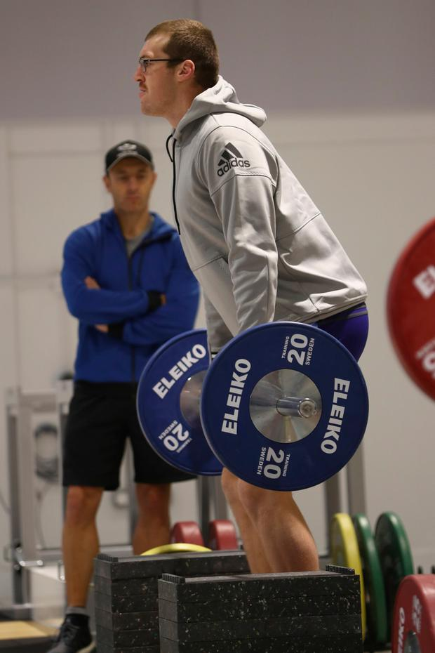 New Zealand's Brodie Retallick deadlifts during a gym session at the Irish Institute of Sport yesterday in Dublin. Pic: Getty Images