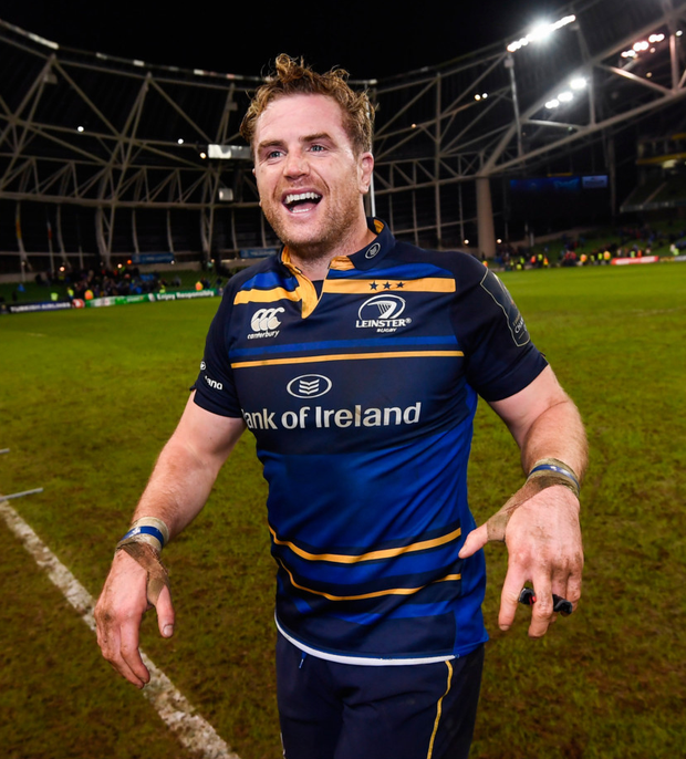 Jamie Heaslip celebrates after victory over Northampton Saints at the Aviva Stadium. Pics: Sportsfile
