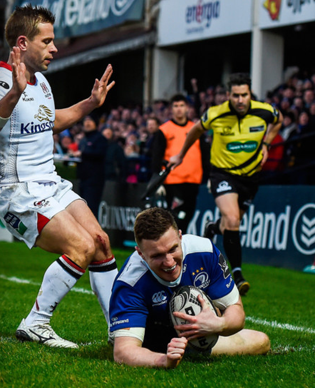 Leinster's Rory O'Loughlin scores one of his tries against Ulster