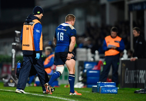 Seán Cronin of Leinster limps off the pitch during the Guinness PRO12 match against Zebre at the RDS last weekend. Pic: Sportsfile