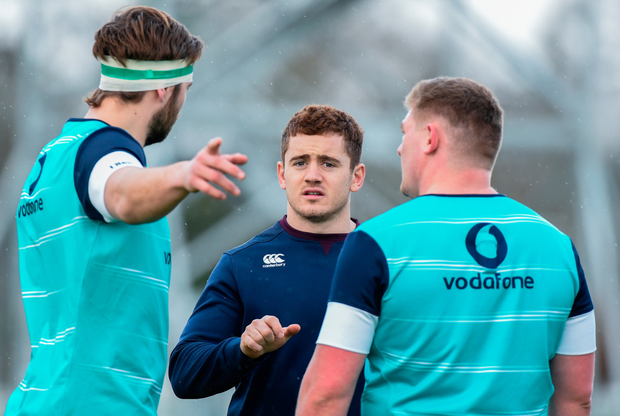 Irish team-mates Iain Henderson, Paddy Jackson and Tadhg Furlong. Photo: Sportsfile