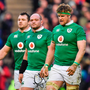 Dejected Ireland players Rory Best (left) and Jamie Heaslip leave the pitch after the Six Nations defeat by Scotland at Murrayfield Pics: Sportsfile