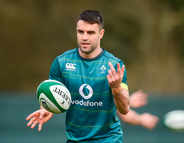 Conor Murray in action during Ireland squad training at Carton House in Maynooth yesterday. Pics: Sportsfile